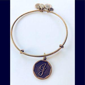 """Alex and Ani letter """"J"""" gold bracelet"""